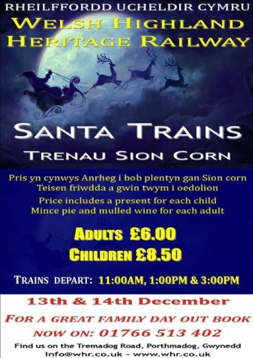 Trenau Siôn Corn ar Reilffordd Treftadaeth Ucheldir Cymru